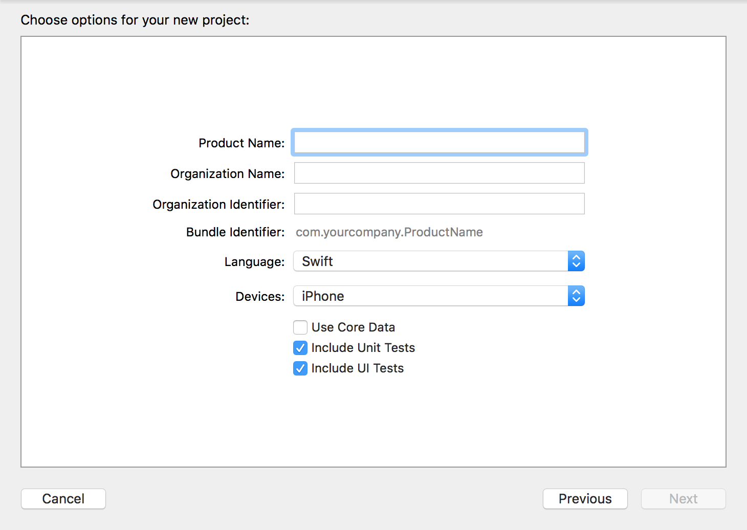 Creation of new project in Xcode