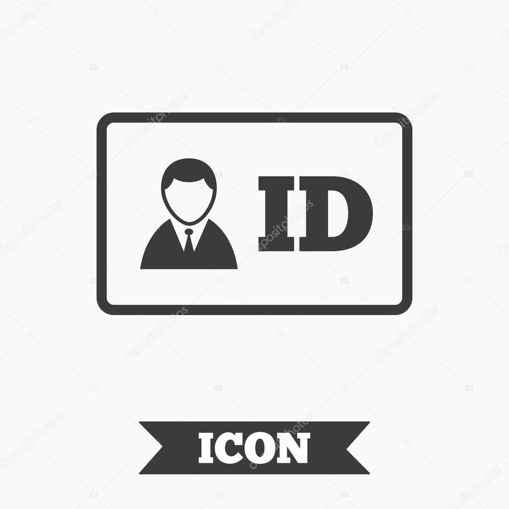 ID card sign icon. Identity card badge symbol. Graphic design element. Flat  iD card symbol on white background. Vector — Vector de Blankstock