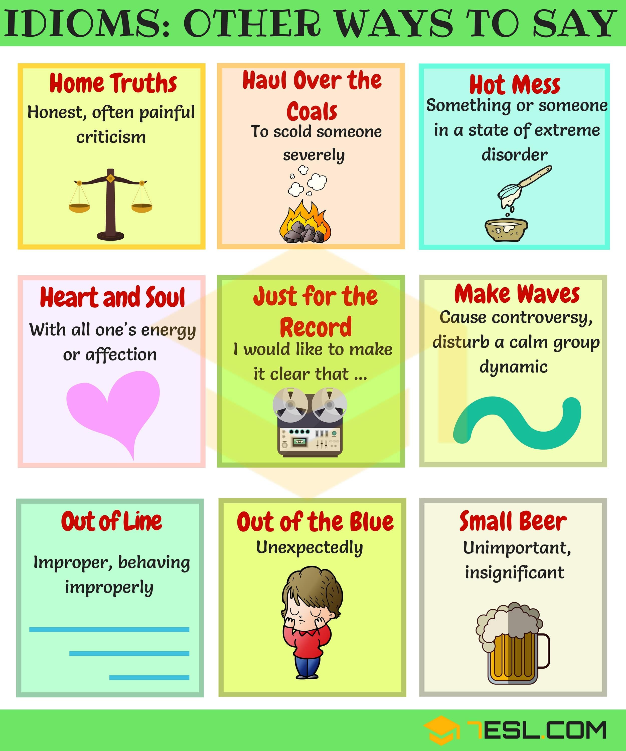 55+ Common Idiomatic Expressions in English | Other Ways to Say