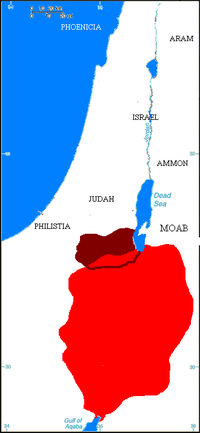 Map showing kingdom of Edom (in red) at its largest extent, c. 600 BCE.  Areas in dark red show the approximate boundary of classical-age Idumaea.