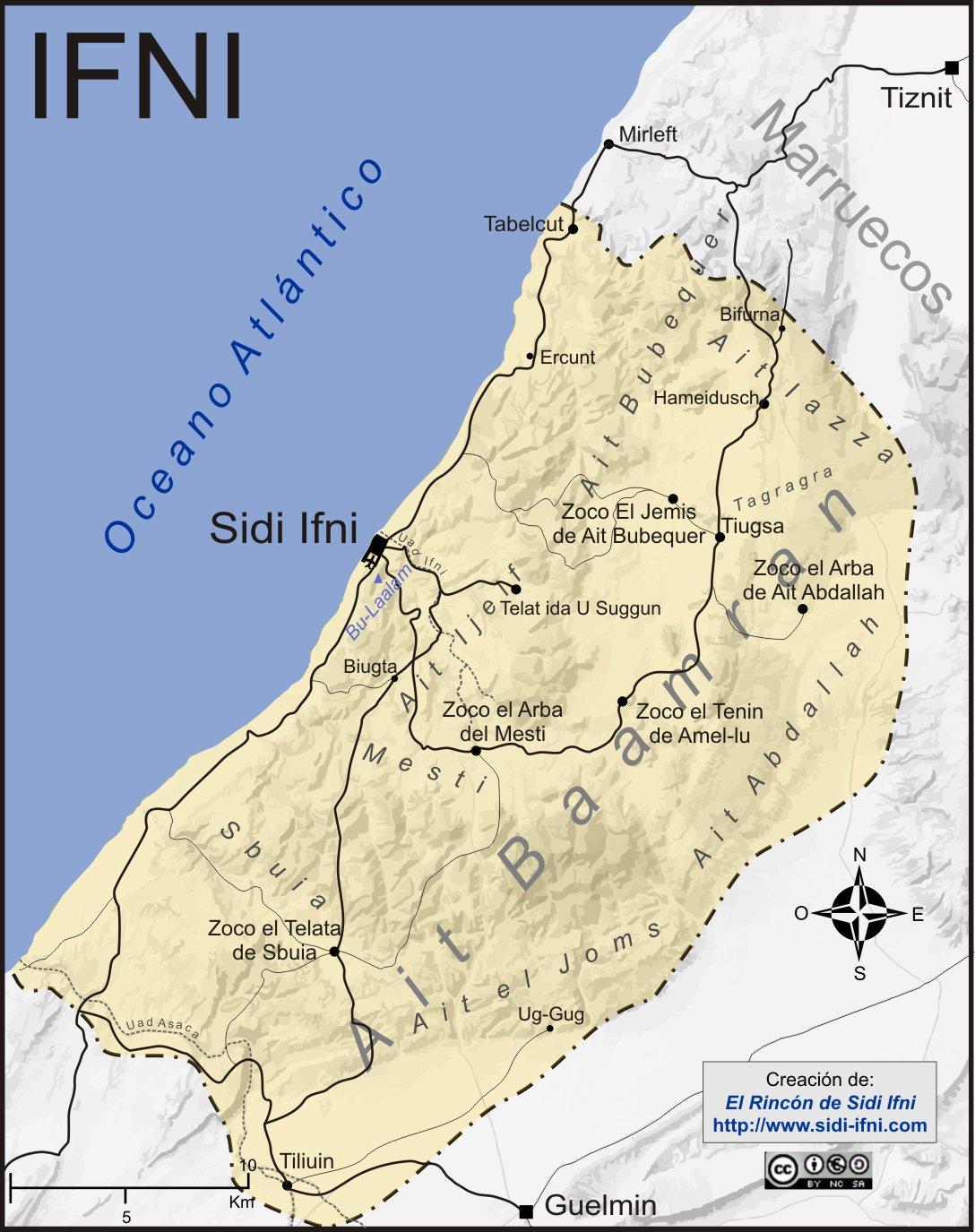 Mapa de Ifni en la etapa colonial.
