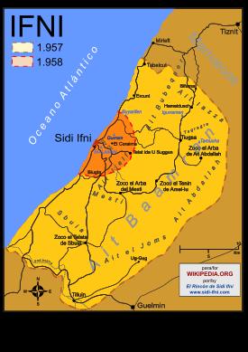 Fronteras del territorio de Ifni antes y después de la Guerra de Ifni -Sáhara.
