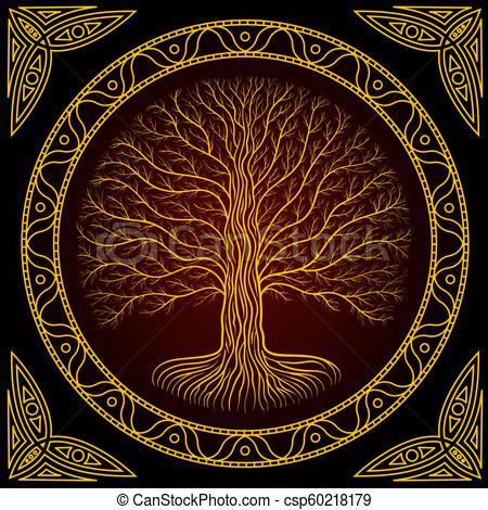 estilo, antiguo, yggdrasil, oscuridad, árbol, libro, gótico, druidic,