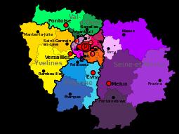 Modern region of Île-de-France and departements