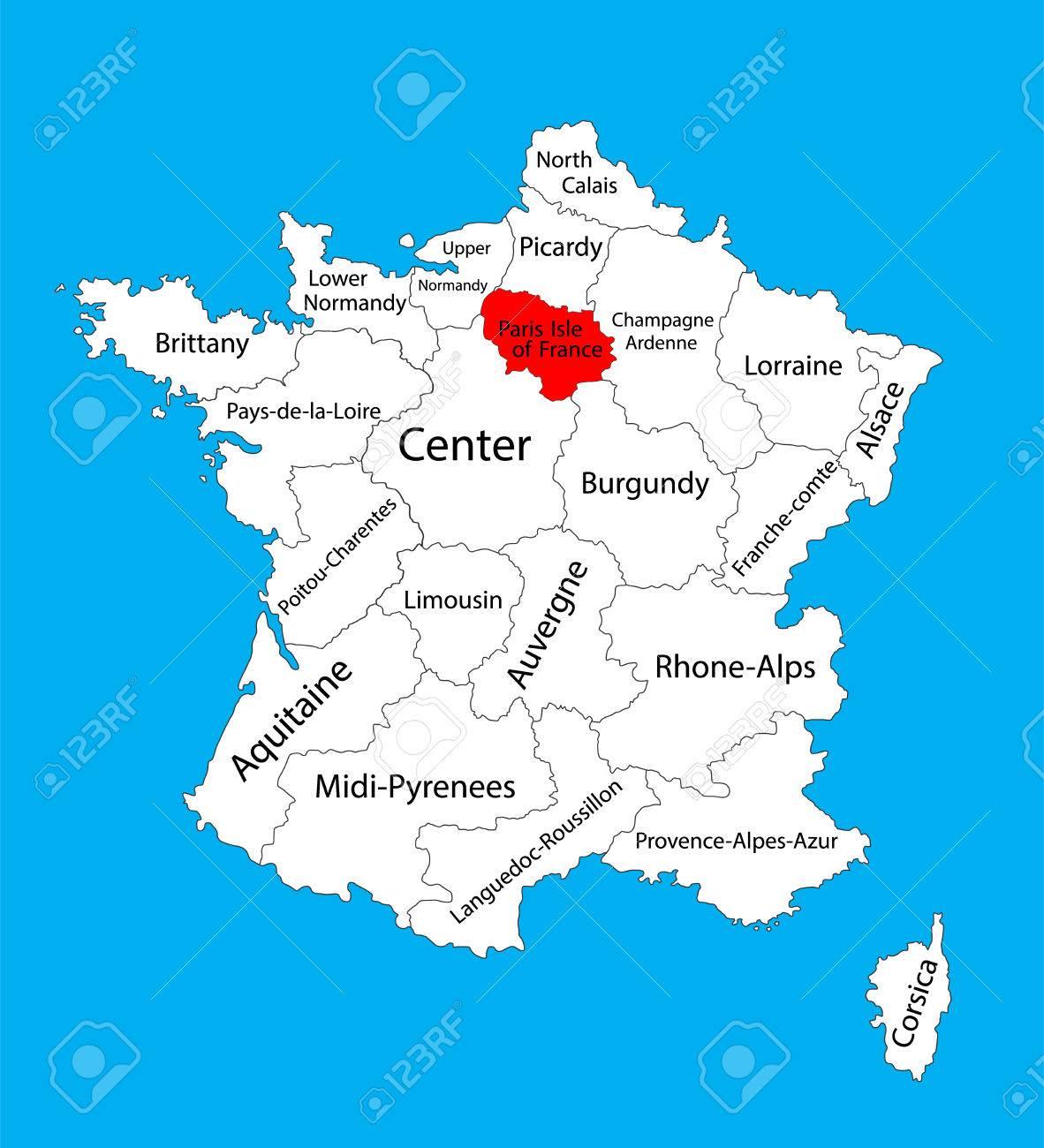 Foto de archivo - Mapa del vector del estado Ile-de-France, ubicación en  Francia. Mapa del vector de Francia.