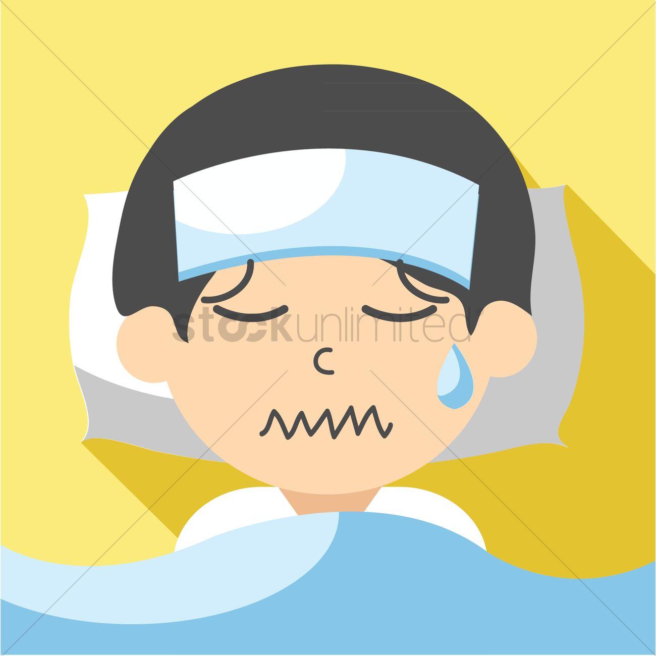 boy feeling sick vector graphic