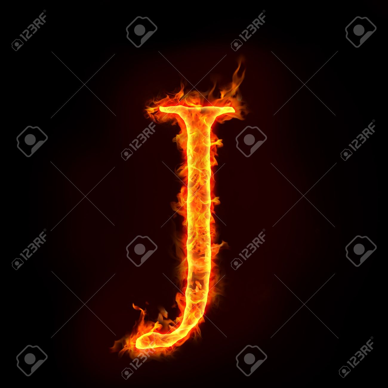 fire alphabets in flame, letter J Stock Photo - 10232875