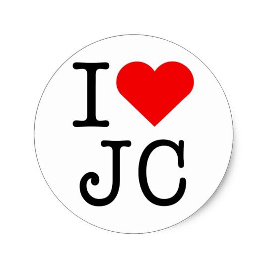Amo al pegatina del corazón JC