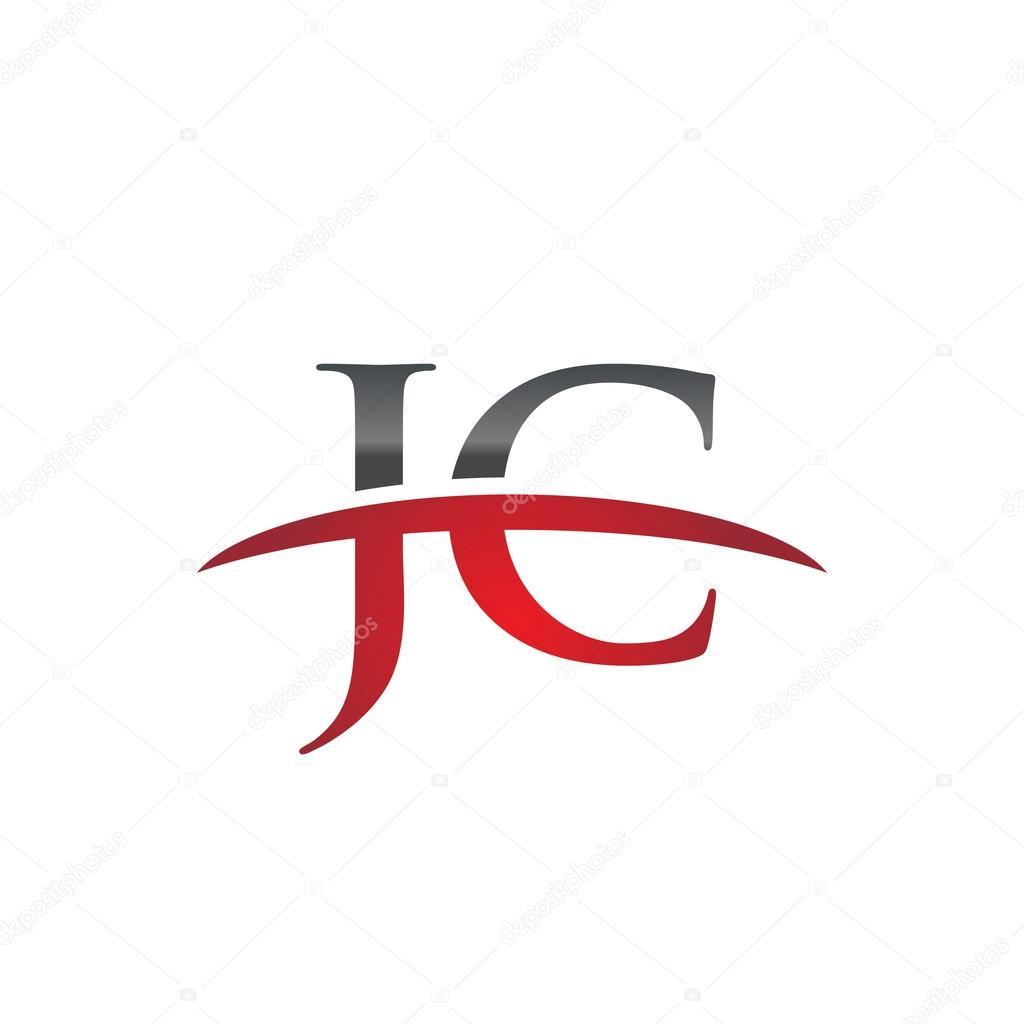 Letra inicial Jc rojo swoosh logo swoosh logo — Vector de stock