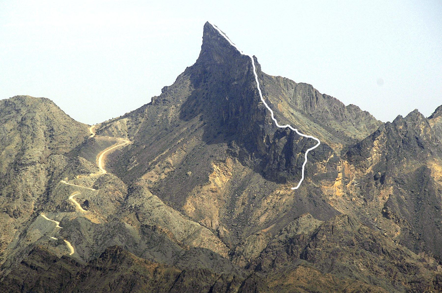 Jabal Nakhus, East Face, F-Sharp; Jabal Dhawi, West Ridge