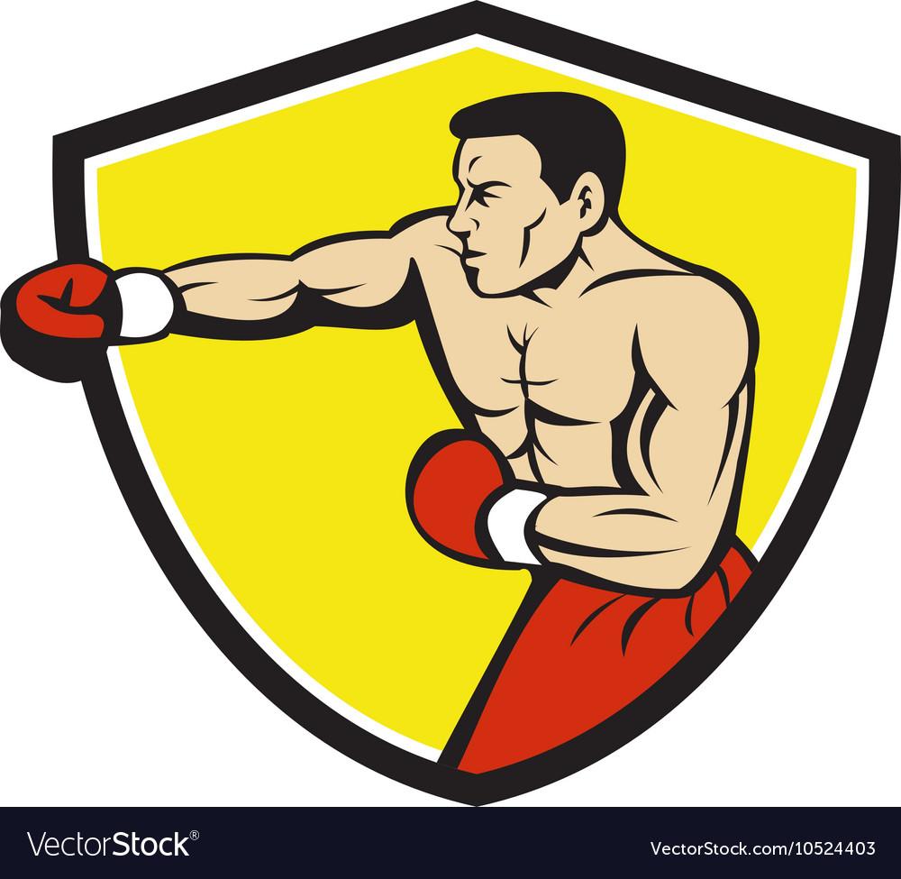 Boxer Jabbing Punching Crest Cartoon vector image