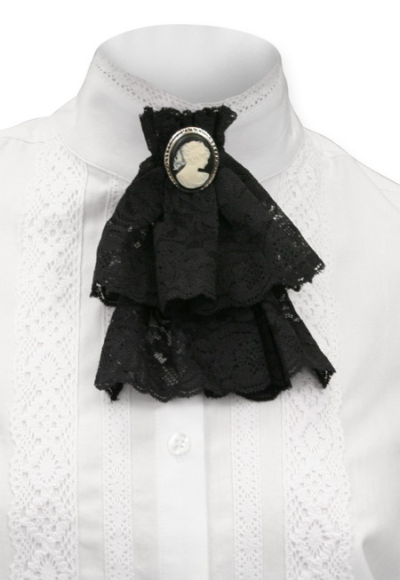 Wedding Ladies Black Solid Jabot | Formal | Bridal | Prom | Tuxedo ||  Victorian