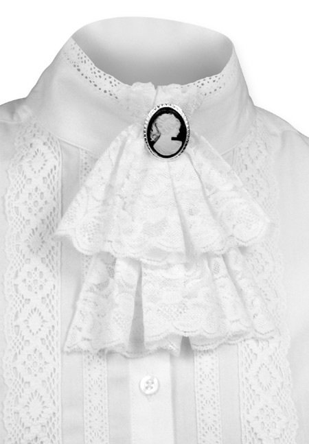 Victorian Ladies White Solid Jabot | Dickens | Downton Abbey | Edwardian ||  Victorian Lace