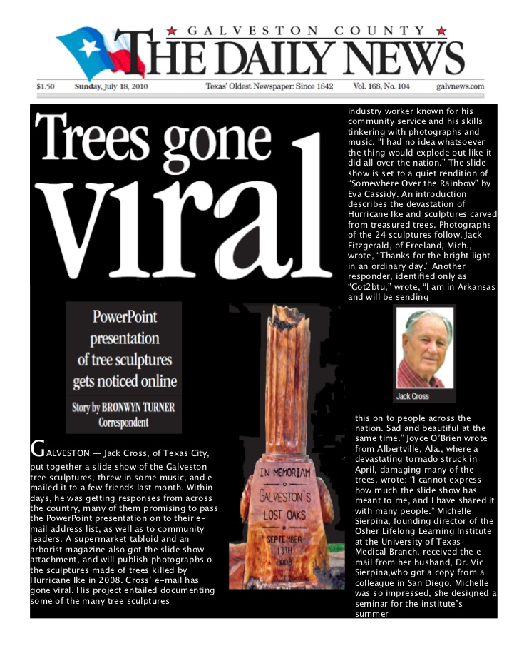 Jack Cross Tree Sculptures. industry worker known for his