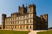 Highclere Castle, known from the Downton Abbey television series, is an  example of Jacobethan style
