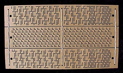 Although the mechanical Jacquard has been replaced by the electronic  Jacquard in most textile mills today, punched cards (left) and punched  paper (right)