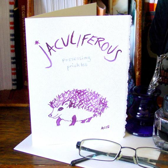 Jaculiferous Blank Greeting Card featuring Word Art by Amy Crook Calligraphy