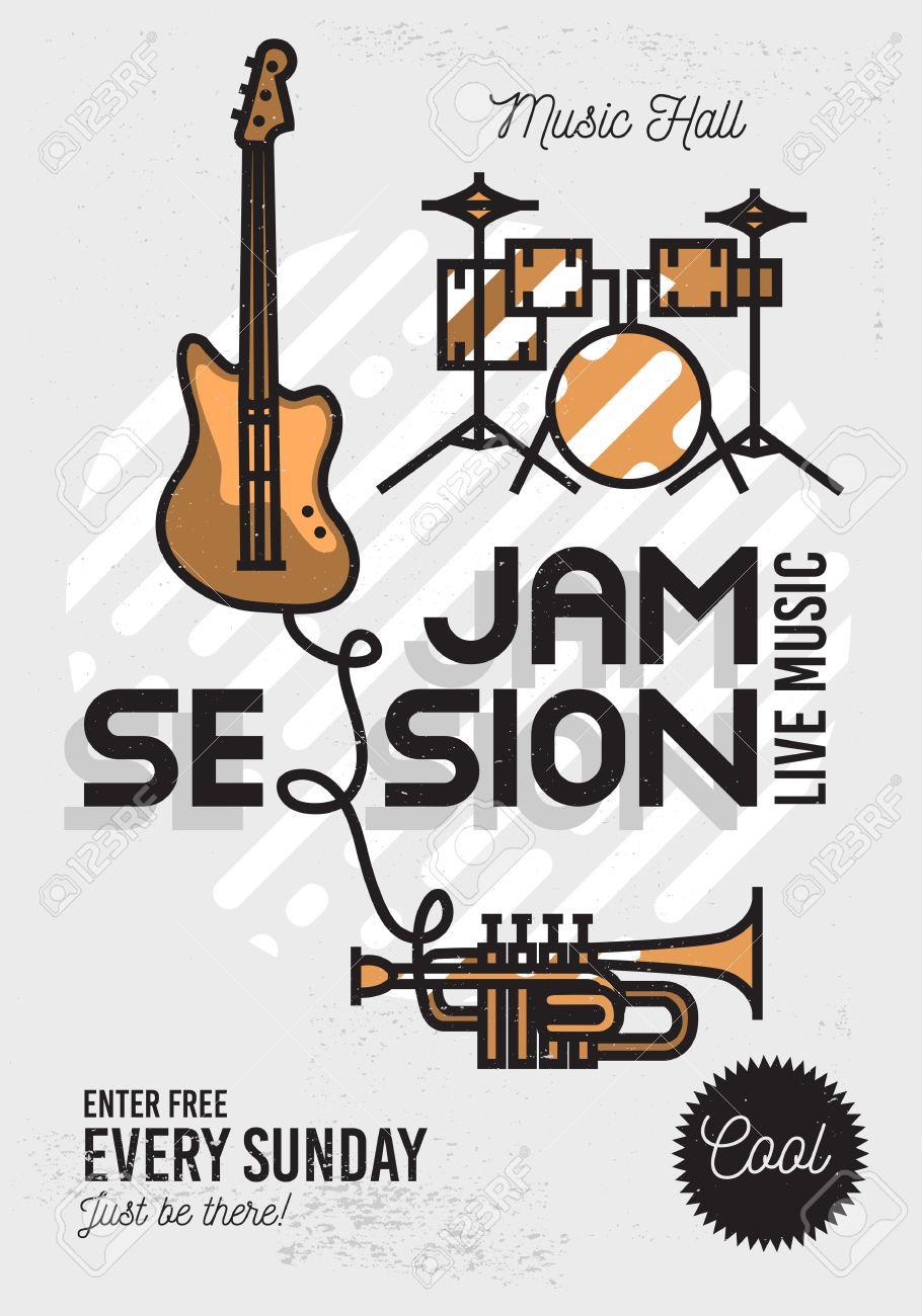Foto de archivo - Jam Session minimalista fresco del Arte Música Póster.  Diseño del vector. Guitarra, batería y trompeta Iconos.