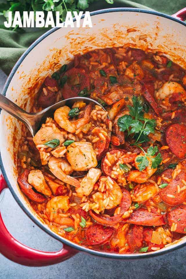 jambalaya recipe, chicken, shrimp, andouille sausage, rice, one pot meals