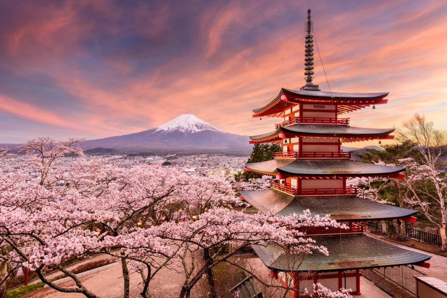 J1GDDB Fujiyoshida, Japan at Chureito Pagoda and Mt. Fuji in the spring  with cherry blossoms.