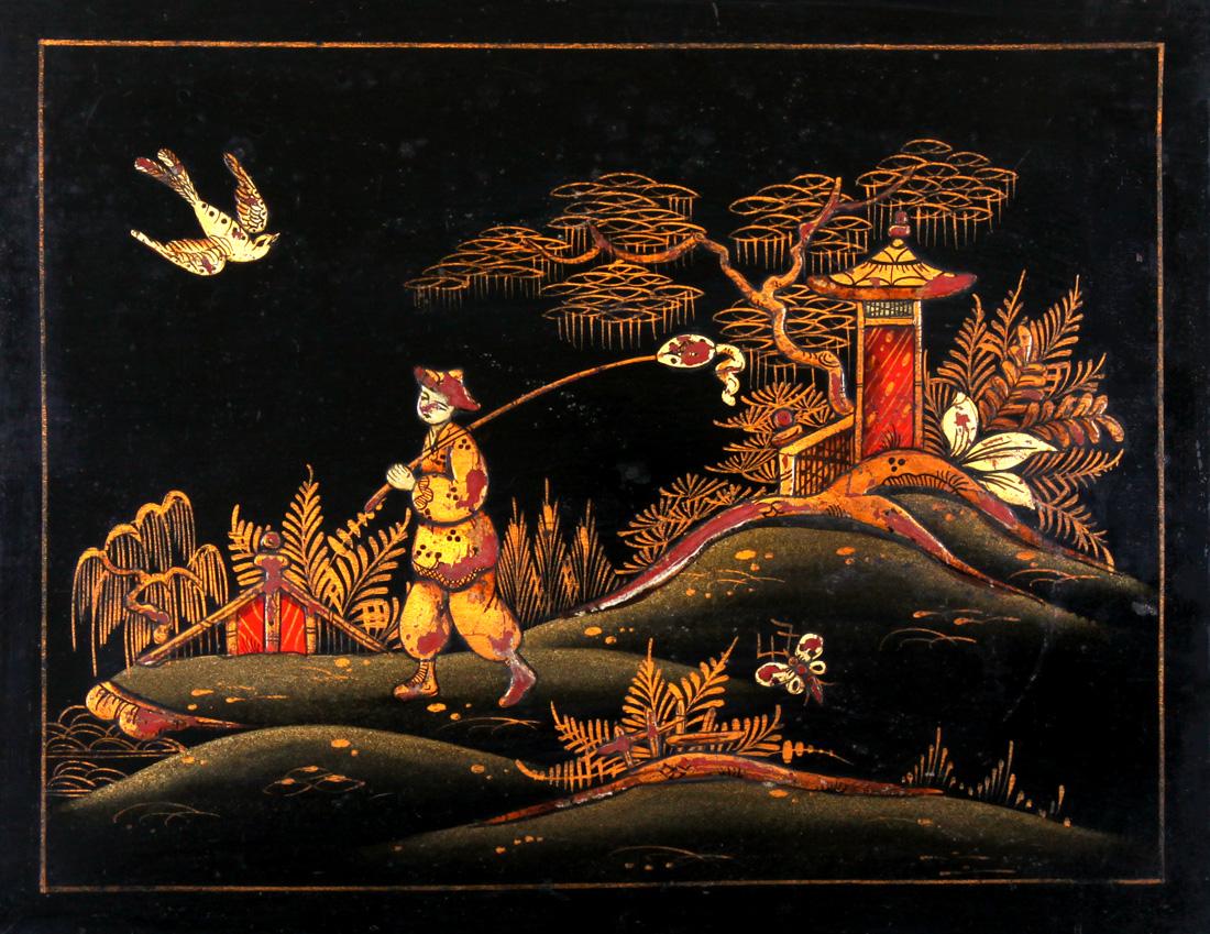 Antique Japanned Lacquer Painting - Japanning - a boy with a kite - ציור  לקה שחורה מעוטר זהב - אנגלי עתיק