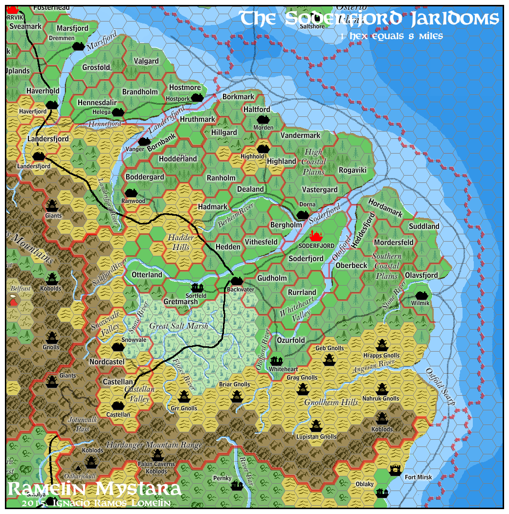 Soderfjord Jarldoms. Known World. Added jarldom borders and humanoid tribes  as well as labels and details.