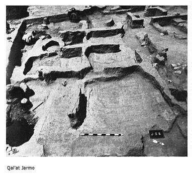 The inhabitants of Jarmo lived in square multi-roomed houses build of  pressed mud with mud-ovens and baked-in clay basins