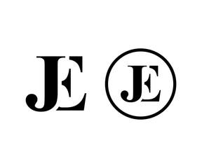 Initial Letter JE Monogram Circle Modern Logo Symbol