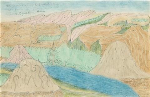 mt. jebel-ed-druz & euphrates river near bursa-ash-sham