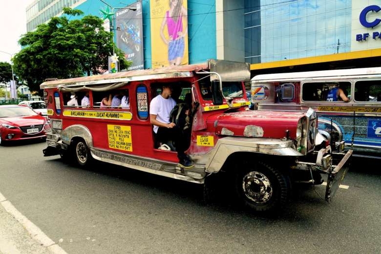 A jeepney is essentially a vehicle made to look like a gaudy, stretched  version of