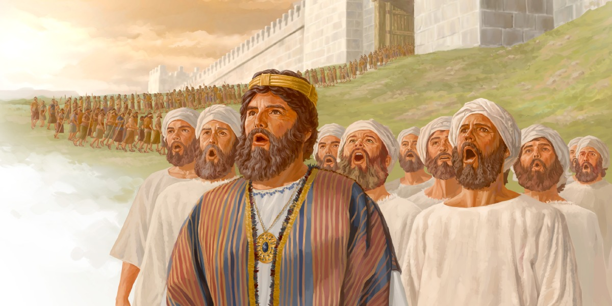 King Jehoshaphat and the Levite singers lead the army out of Jerusalem