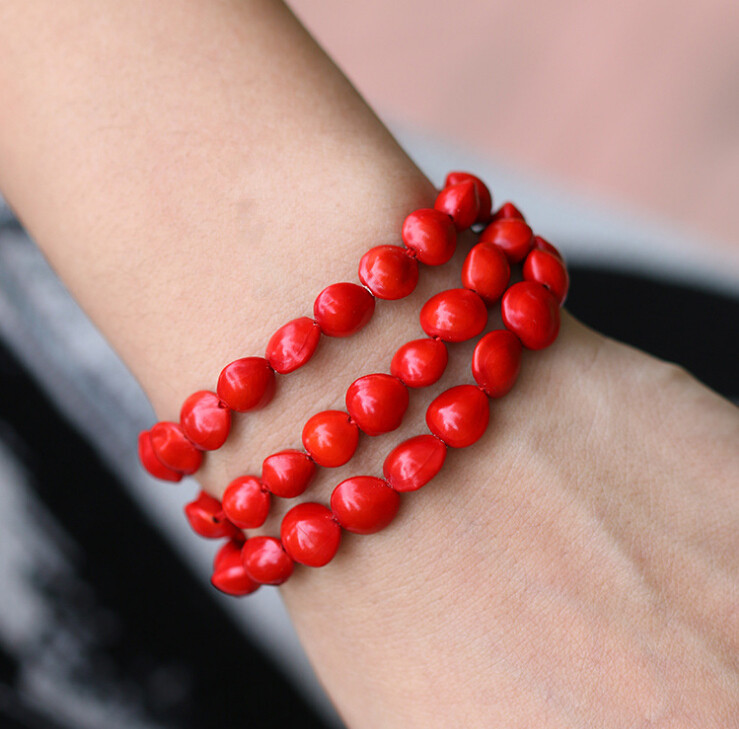 New fashion jewelry Bracelet Natural single jequirity bean red blood Bodhi  child Bracelet gift Handmade folk jewelry-in Charm Bracelets from Jewelry