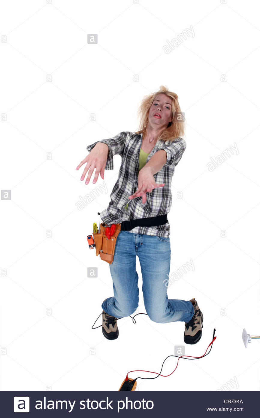 Woman being electrocuted - Stock Image