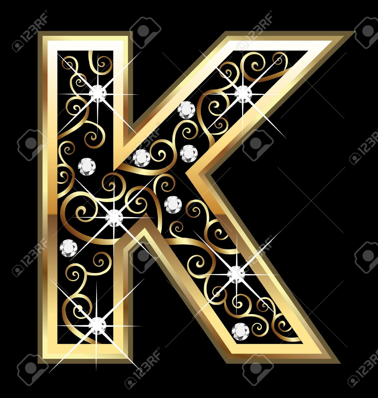 K gold letter with swirly ornaments Stock Vector - 16220124