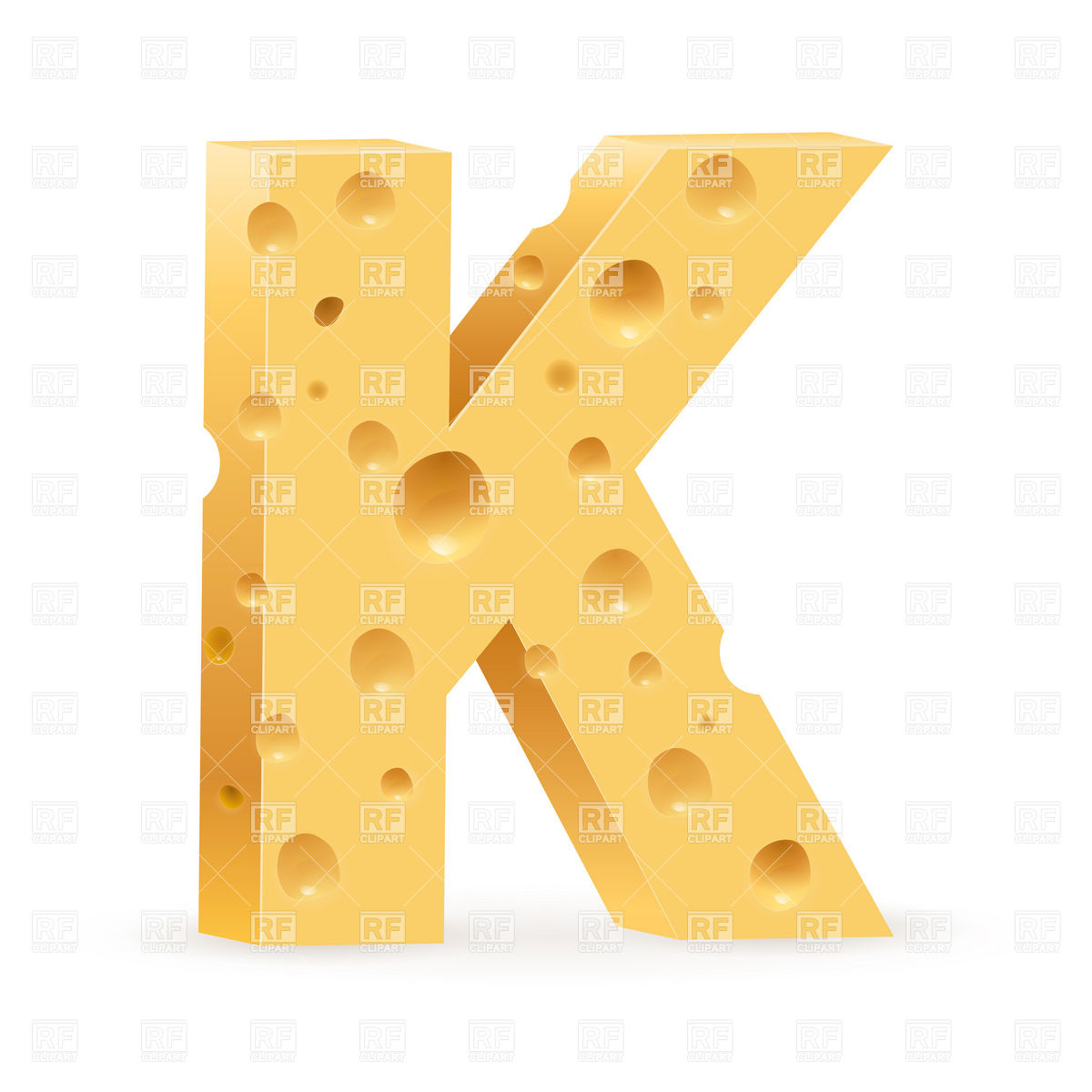 Cheese font, letter K Vector Image – Vector Illustration of Food and  Beverages © dvarg Click to Zoom