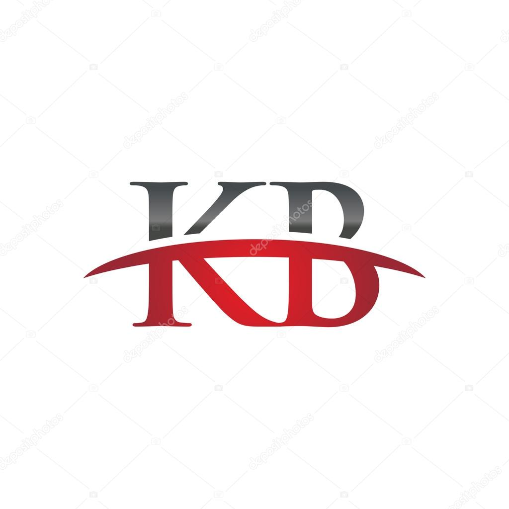 Initial letter KB red swoosh logo swoosh logo — Stock Vector