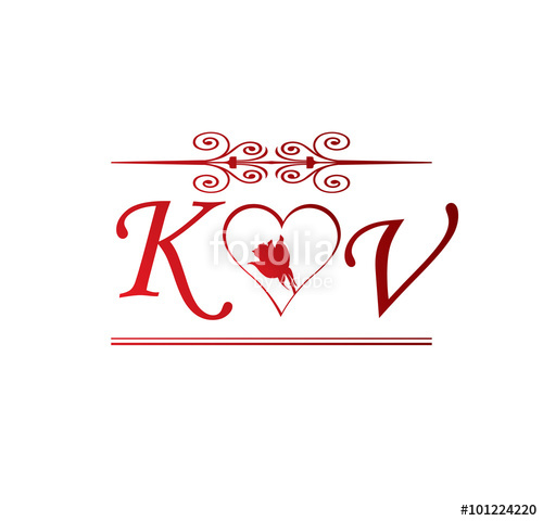 KV love initial with red heart and rose