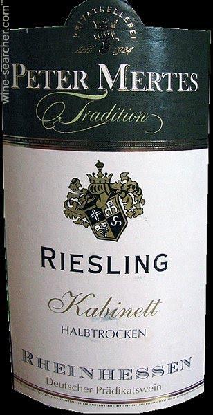 Peter Mertes Tradition Riesling Kabinett Halbtrocken, Rheinhessen, Germany  label