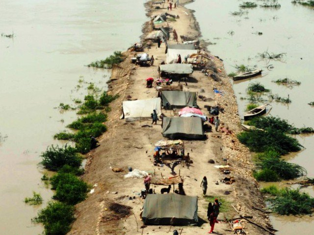 Flood victims take shelter on a higher ground surrounded by floodwaters in  Sarjani village. PHOTO