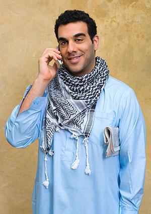 Business man wearing kaffiyeh.