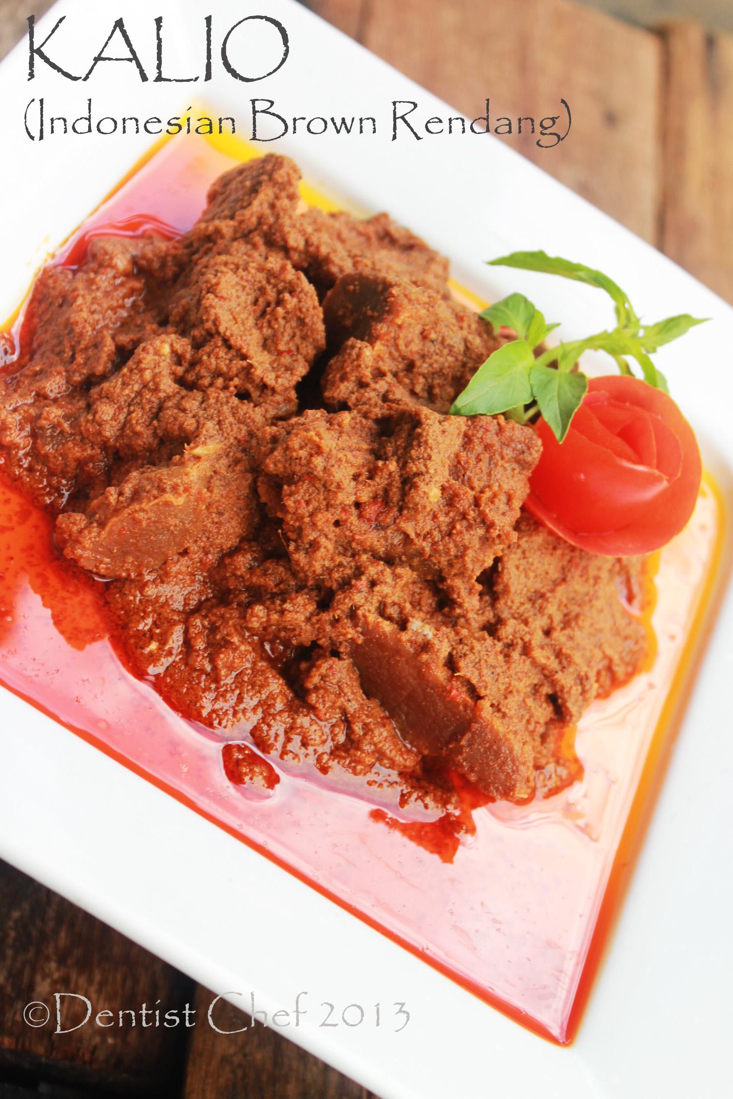 Resep kalio daging sapi rendang padang indonesian beef rendang brown color