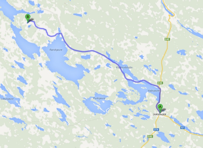 45 north from Jokkmokk, turn towards Kvikkjokk after some kilometers,  go a while, turn left towards Björkholmen, follow the signs towards Kallak  Gállok.