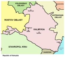 Map of the Republic of Kalmykia.
