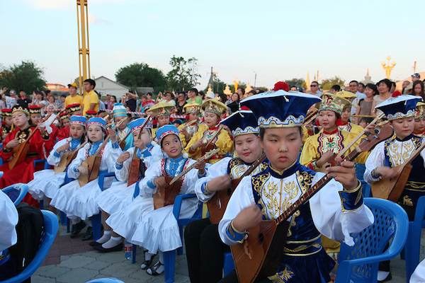 In the Russian Buddhist Republic of Kalmykia. Over 300 musicians and  children played Dombra at
