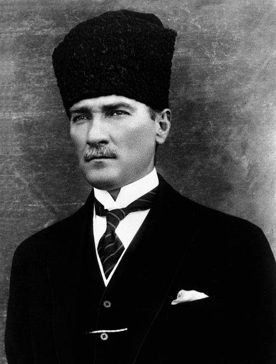 Atatürk wearing a Turkish-style kalpak