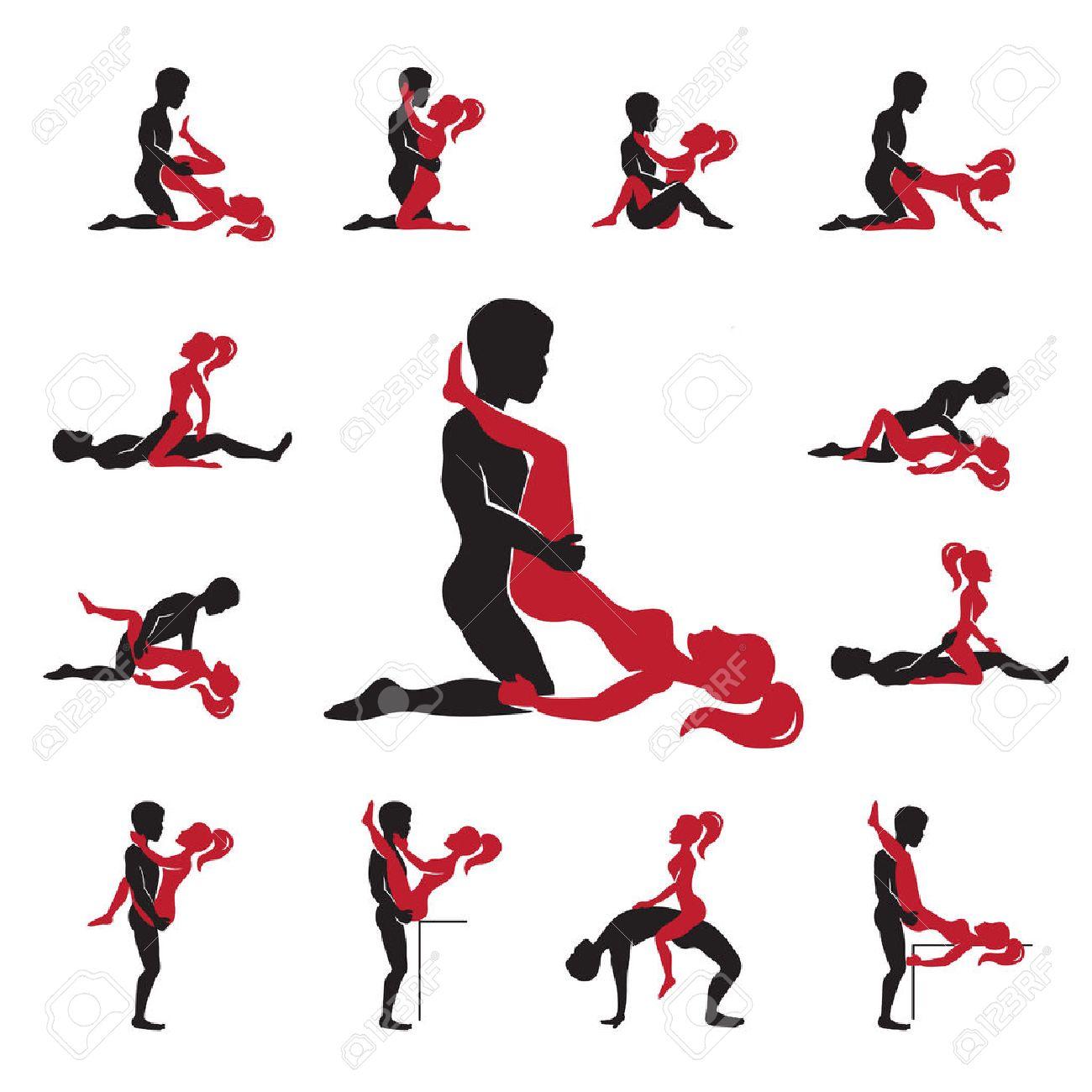 Foto de archivo - Posiciones amor Kama Sutra iconos negros rojos conjunto  ilustración vectorial aislado plana
