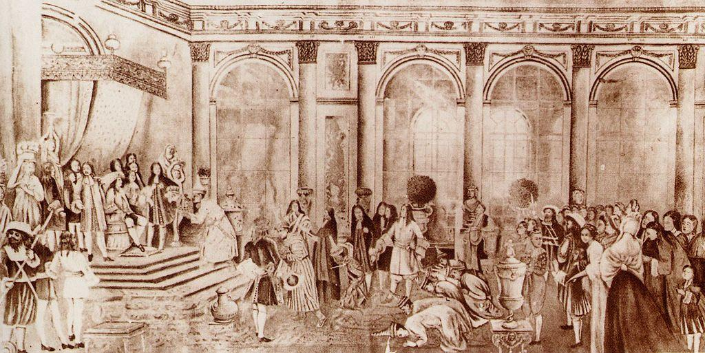 A depiction of the royal court of King Louis XIV.