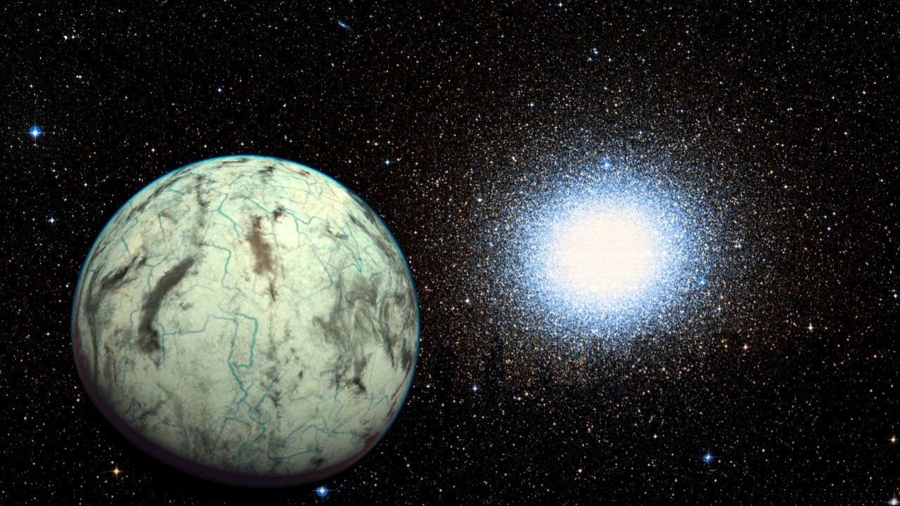This artistic representation shows the potentially habitable exoplanet  Kapteyn b and the globular cluster Omega Centauri