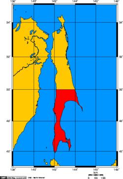 Prefectura de Karafuto (en rojo).