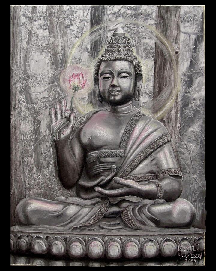 Buddha Drawing - The Buddha A Smile For Kasyapa by Dennis Jones